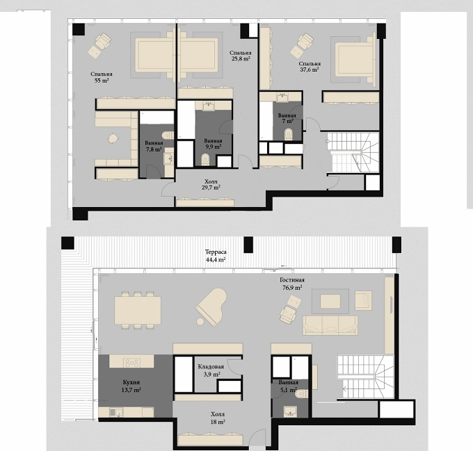 Planning of the apartment Penthouses, 354 in Porta Batumi Tower, Batumi
