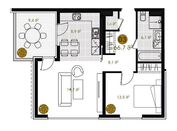 1-bedroom, 265 955 GEL, 66.7 m2, Tbilisi Hills Apartments