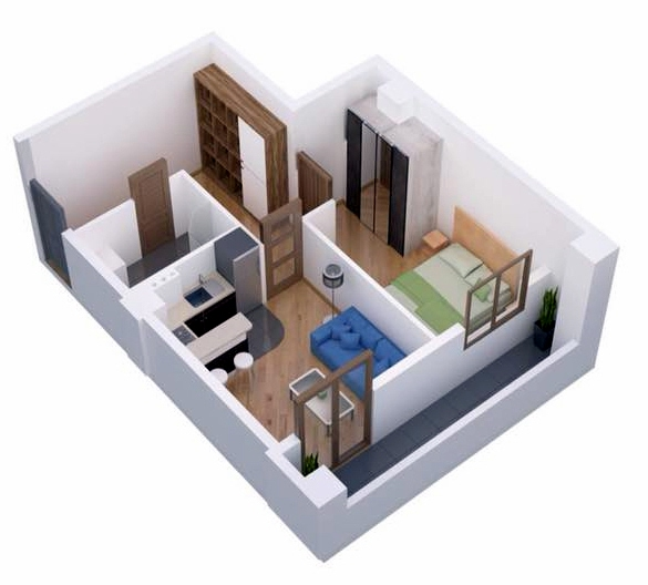 Planning of the apartment 1-bedroom apartments, 42.8 in Ji Di Group, Tbilisi
