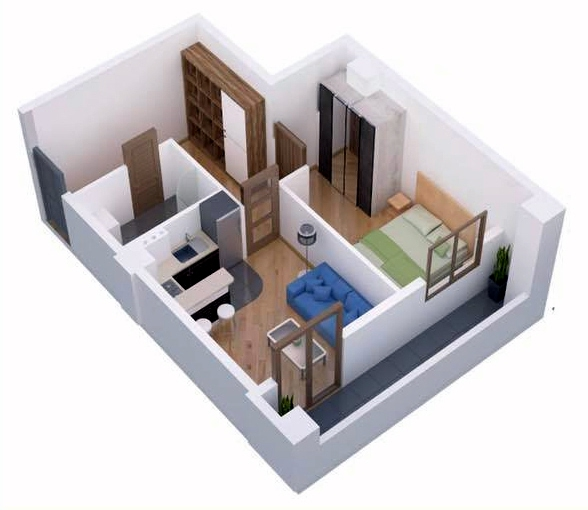 Planning of the apartment 1-bedroom apartments, 44 in Ji Di Group, Tbilisi