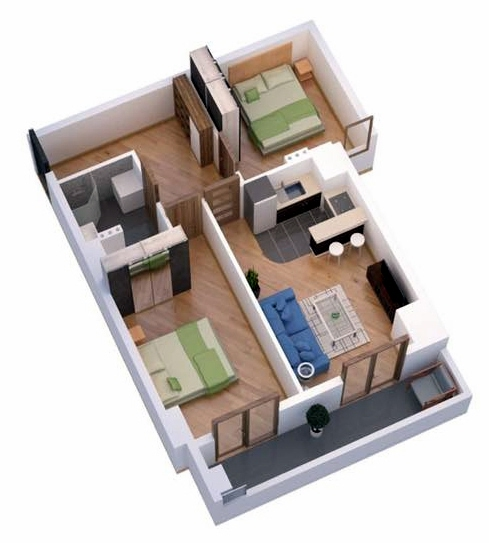 Planning of the apartment 1-bedroom apartments, 63.4 in Ji Di Group, Tbilisi