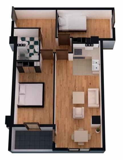 Planning of the apartment 2-bedroom apartments, 63.5 in Ji Di Group, Tbilisi