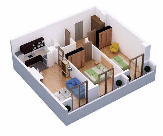Planning of the apartment 2-bedroom apartments, 72.9 in Ji Di Group, Tbilisi