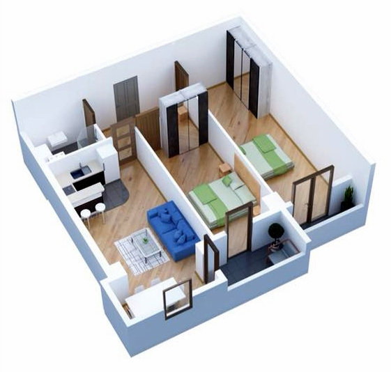 Planning of the apartment 2-bedroom apartments, 75.2 in Ji Di Group, Tbilisi