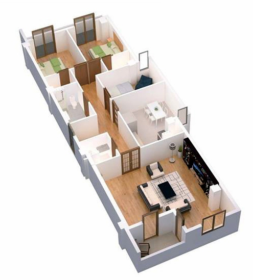 Planning of the apartment 4-bedroom apartments, 127.9 in Ji Di Group, Tbilisi