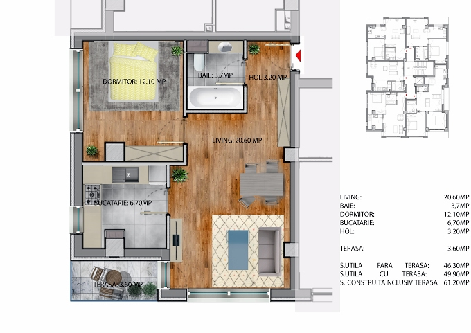 2 camere, 46 407 € +TVA, 61.2 m², Neofort Rezidential 41