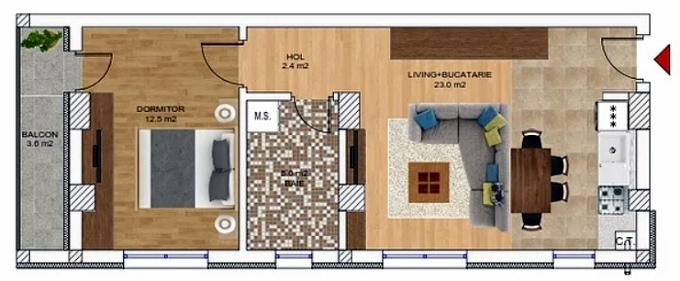 2 camere, 47 620 € +TVA, 58.79 m², Neofort Rezidential 75