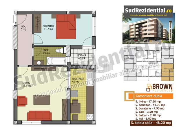 2 camere, 33 725 € +TVA, 48.2 m², Brown Residence 5