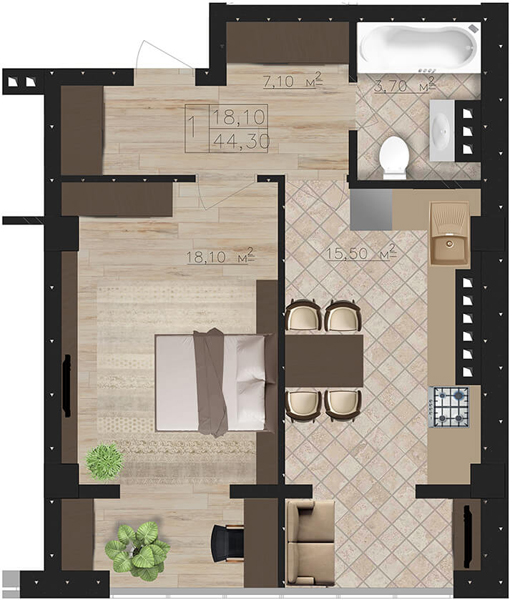 Планировки 1-комнатных квартир от 39 955 $