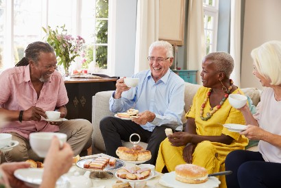 group of seniors socializing in their retirement community