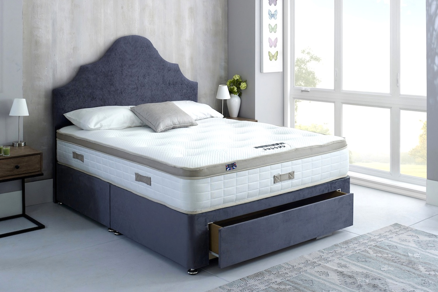 MEMORY FOAM DIVAN BED WITH MATTRESS AND HEADBOARD NEW OTTOMAN OPTION AVAILIABLE