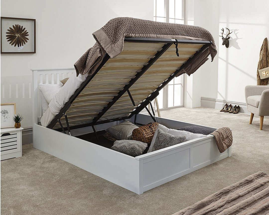 Picture of: Como White Wooden Ottoman Bed Frame Bedworld