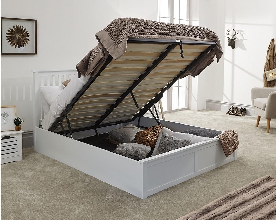 Como White Wooden Ottoman Bed Frame Bedworld