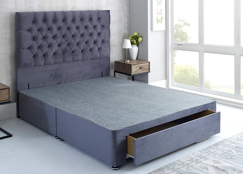 Plush Velvet Fabric Universal Divan Base Bedworld