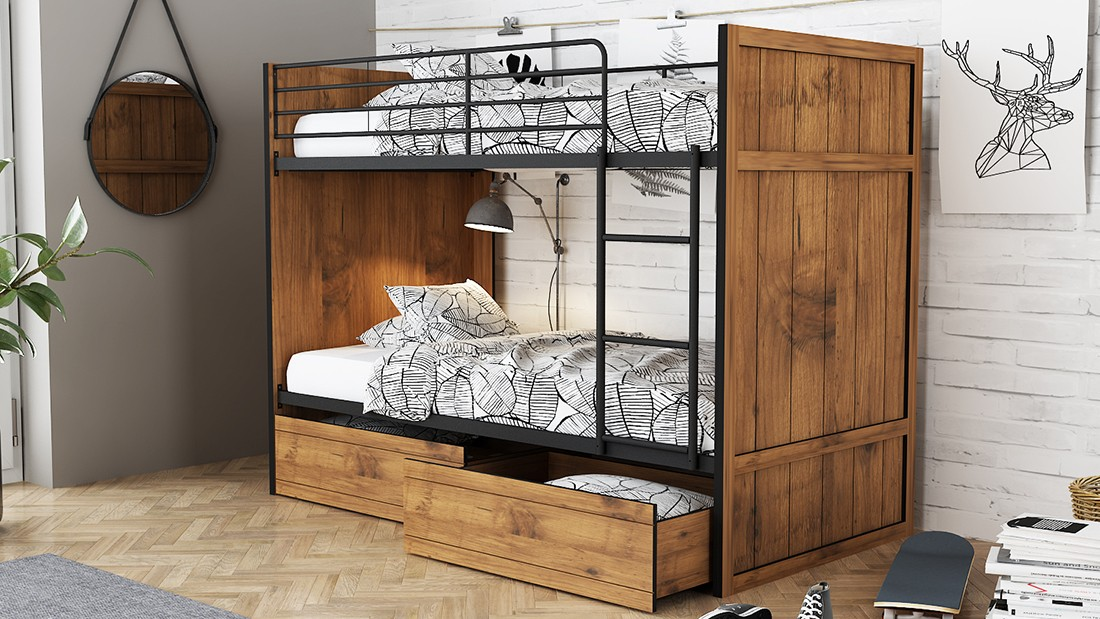 Picture of: Lpd Rocco Wooden Bunk Bed With Storage Drawers Bedworld
