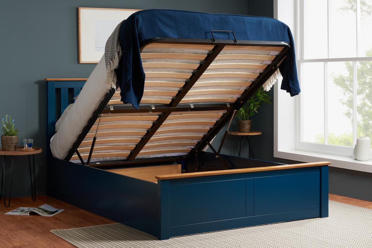Birlea Phoenix Navy Blue Wooden Ottoman Bed Frame Bedworld