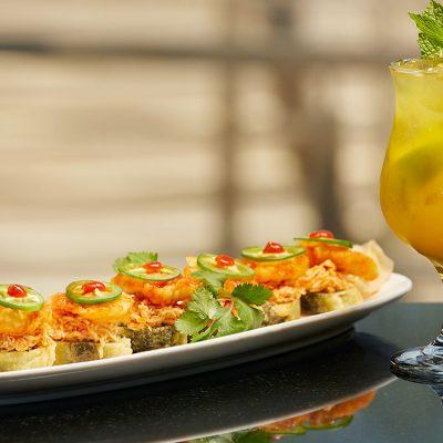 Chili Shrimp Roll & Exotic Mojito