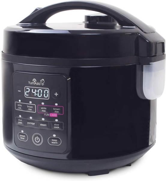 Cuociriso Yum Asia Kumo colore nero, con programmi preimpostati e funzione Yum Carb per la riduzione del 25% dei carboidrati presenti nel riso