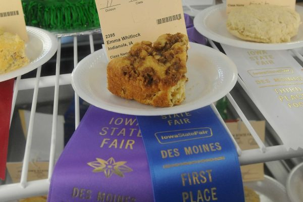 Emma Whitlock of Indianola won a First Place Blue Ribbon in the Food Department.