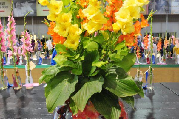 A winning flower arrangement in the John Deere Agriculture Building.