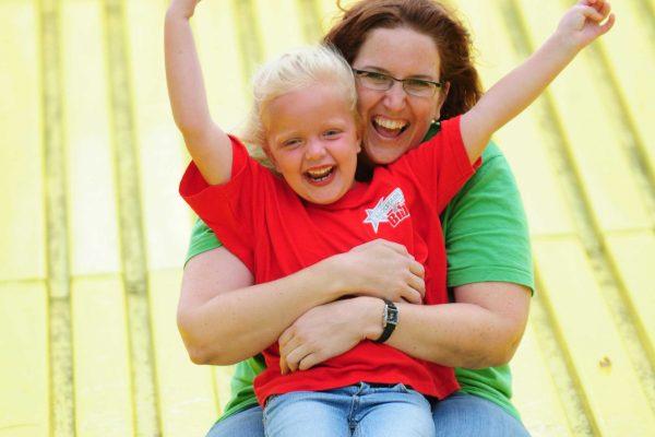 Having fun on the Giant Slide!