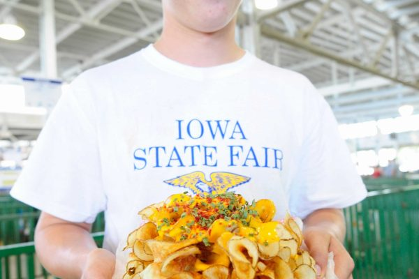 James Leonard of Newton shows off a plate of homemade potato chips.