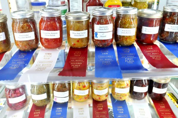 Winning relishes on display in the Elwell Family Food Center.
