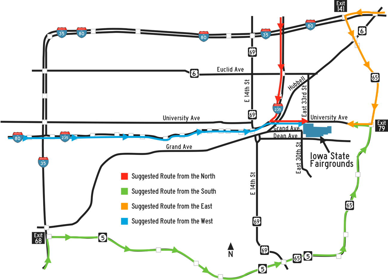 Suggested routes to the Iowa State Fair