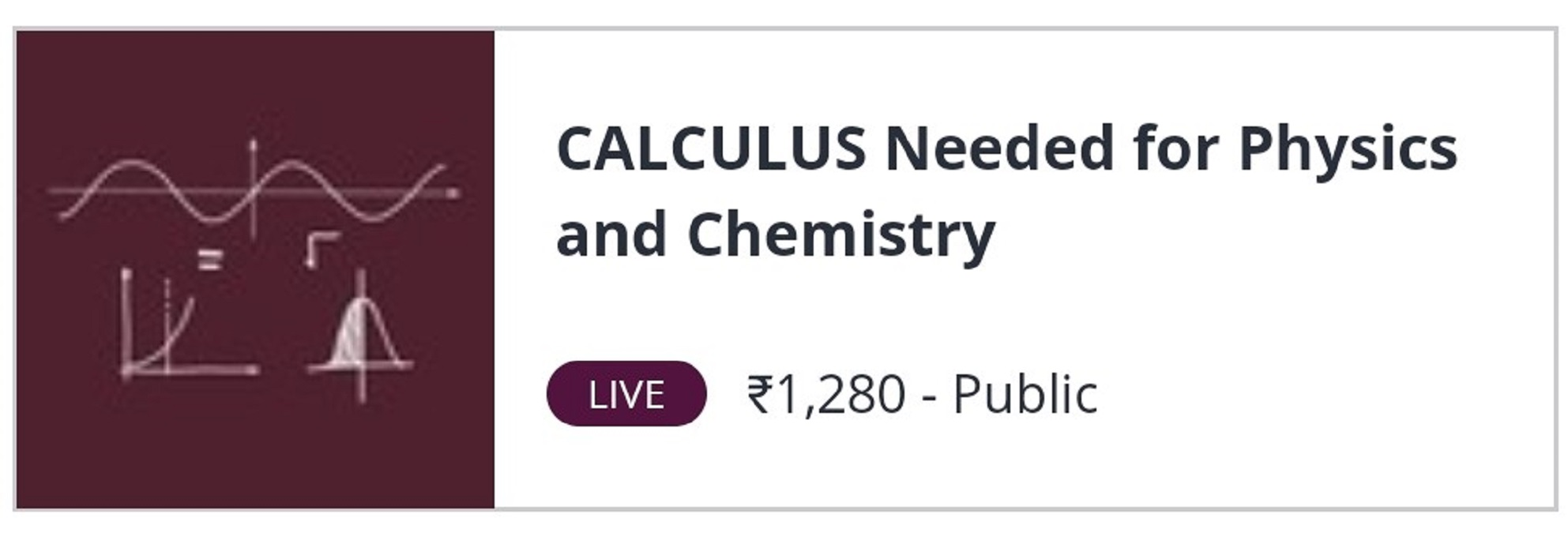 CALCULUS for Physics & Chemistry