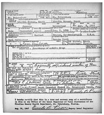 Death Certificate of Composer Jaromir Weinberger. Florida, U.S.A 8 ...
