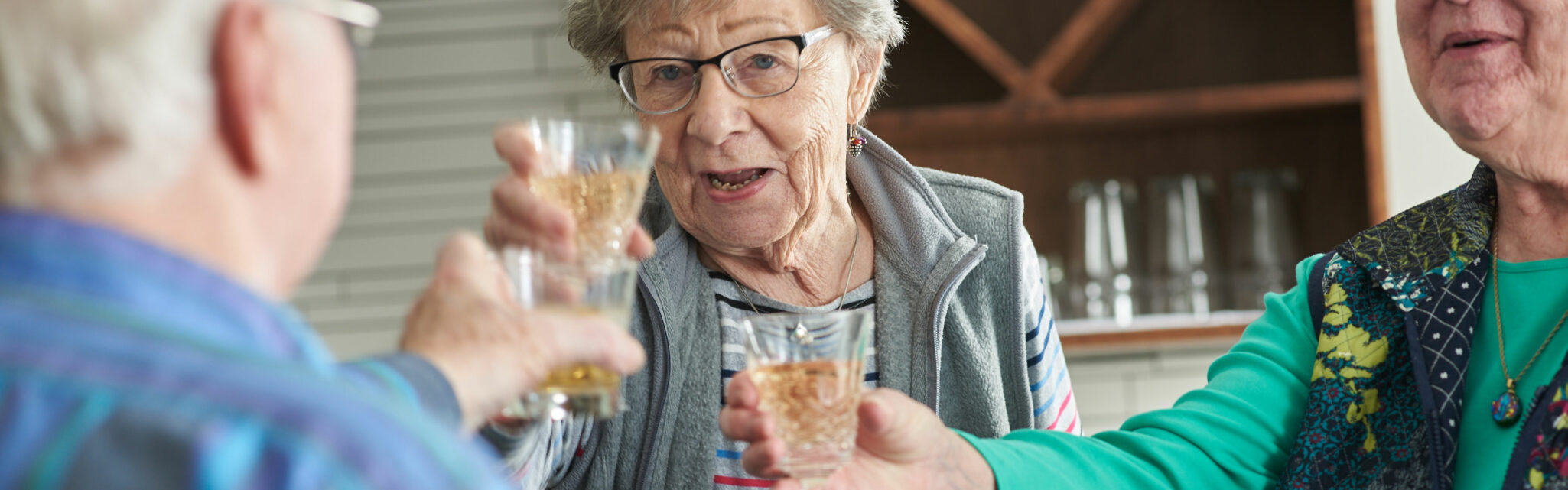group of seniors toasting at their happy hour