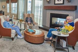 Seniors sitting and chatting