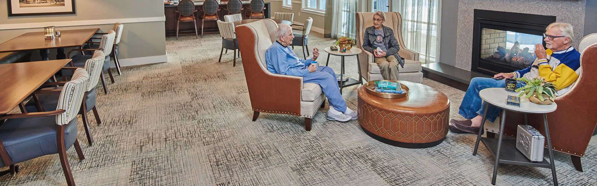 group of seniors gathering in their retirement community