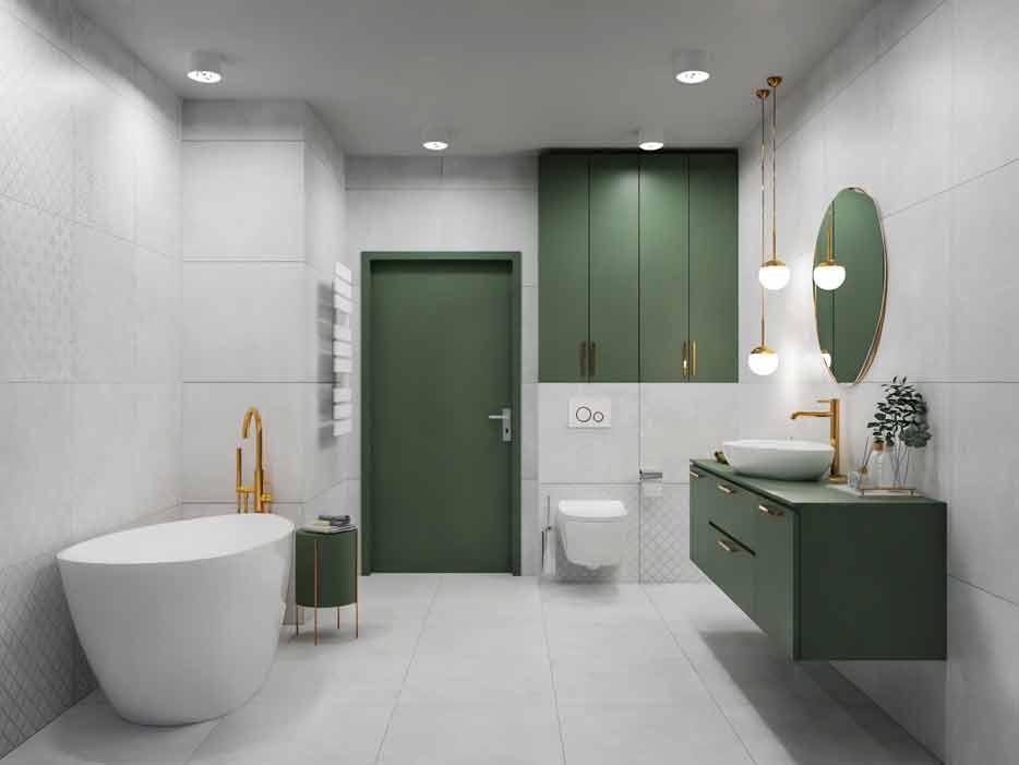 zielone szafki w łazience