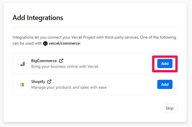 Add BigCommerce integration