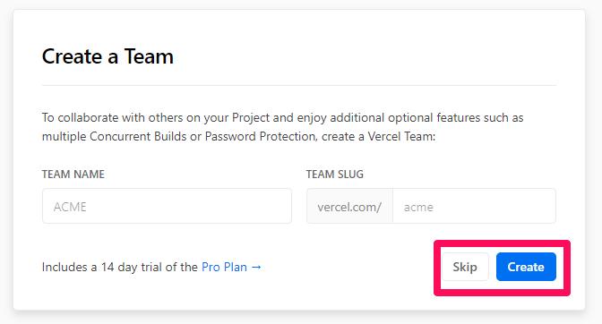 Create Vercel team