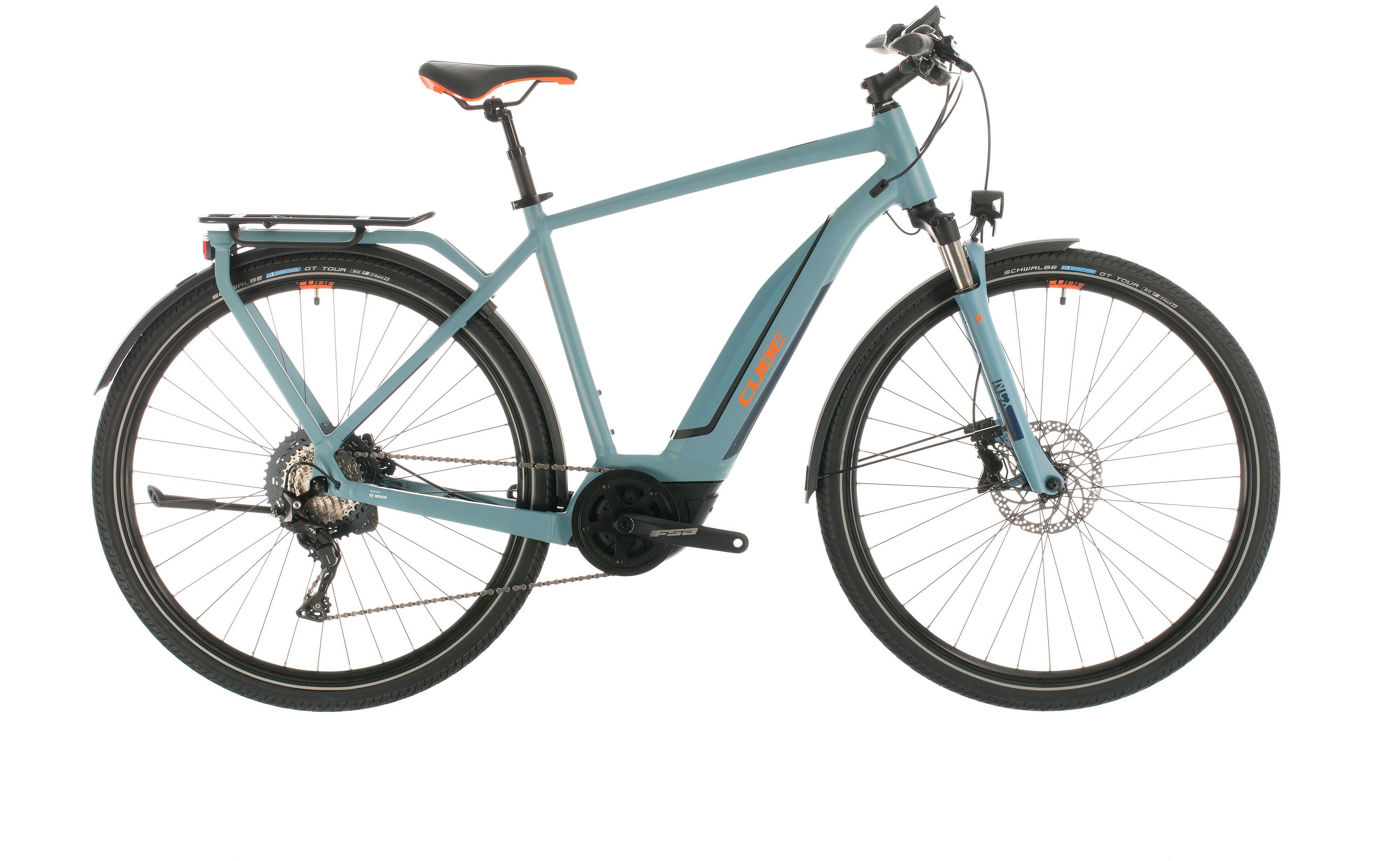 cube touring hybrid exc 500 blue n orange trekking e bike 2020. Black Bedroom Furniture Sets. Home Design Ideas