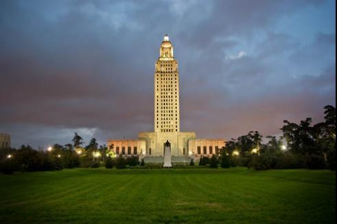 Louisiana Collection Laws | Louisiana Capitol at dusk