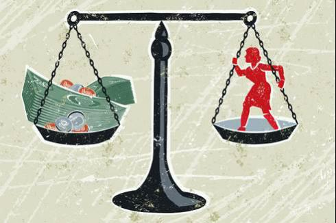 Scale of Justice & Cash   Wage Garnishment