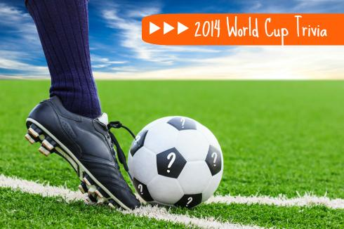 2014 World Cup trivia with a soccer ball with a foot in front and question marks