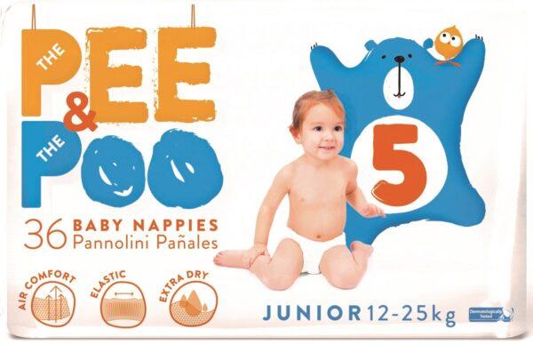 The Pee & The Poo Junior tg 5 (pacco doppio 36 pz) - PEE&POO - Pannolini