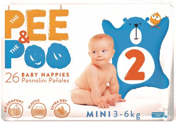 The Pee & The Poo Mini tg 2 (pacco singolo 26 pz) - PEE&POO - Pannolini
