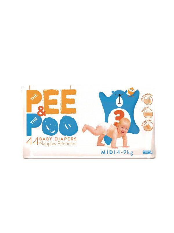 The Pee & The Poo Midi tg 3 (pacco doppio 44 pz) - PEE&POO - Pannolini