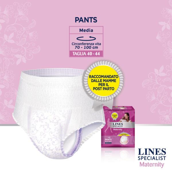 Lines Specialist Maternity Mutandine Assorbenti Post Parto Misura Media - 12 pz - Lines - Cura e cosmesi mamma