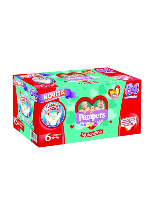 Pampers Special pack Baby Dry Mutandino XL  Taglia 6 (15+ Kg) - 64 pz - Pampers