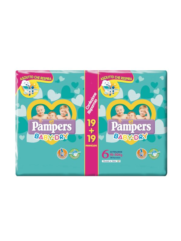 Pampers Baby Dry Extralarge Taglia 6+ (16+ kg) - 38 pz - Pampers - Taglia 6 (15-30 Kg)