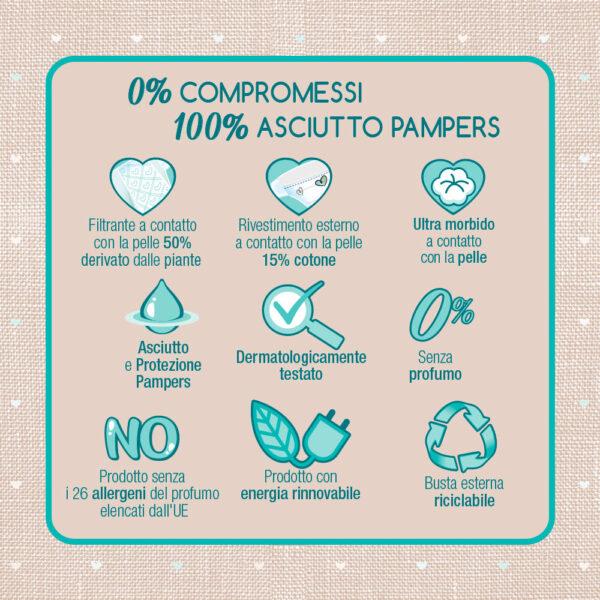 Pampers Naturello 0% profumo Taglia 2 (3-6 kg) - 27 pz - Pampers