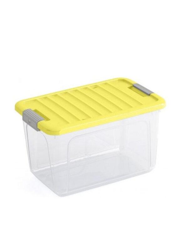 KIS Box trasparente e giallo con coperchio 15 L - KIS - Accessori cameretta