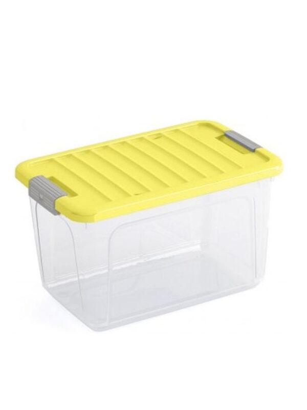 KIS Box trasparente e giallo con coperchio 30 L - KIS - Accessori cameretta