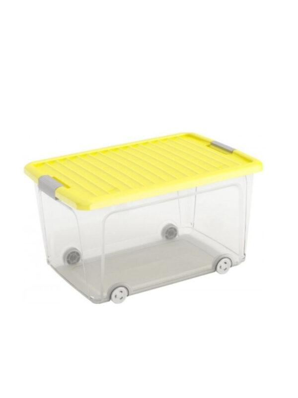 KIS Box trasparente e giallo con coperchio e ruote 50 L - KIS - Accessori cameretta